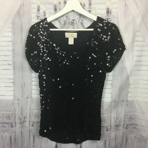 Vintage Black Sequined Top Stretchy Short Sleeve L